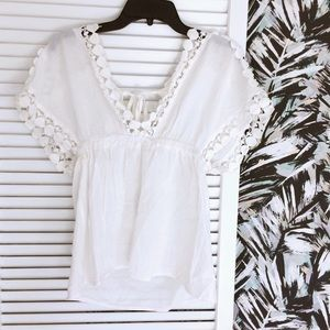 Boho Cotton Blouse with Lace Crochet Trim